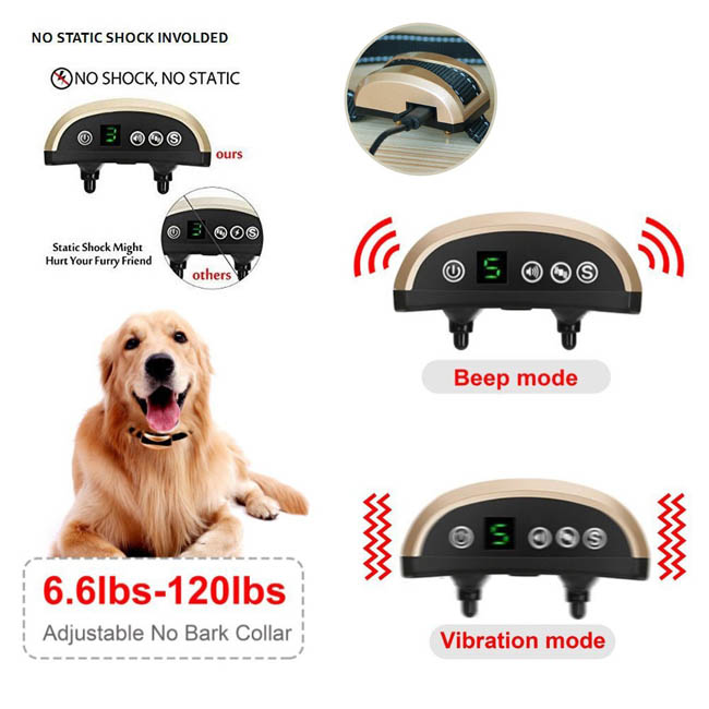 Rechargeable Rainproof Anti No Bark Shock Dog Trainer Stop Barking Dog Training Collar