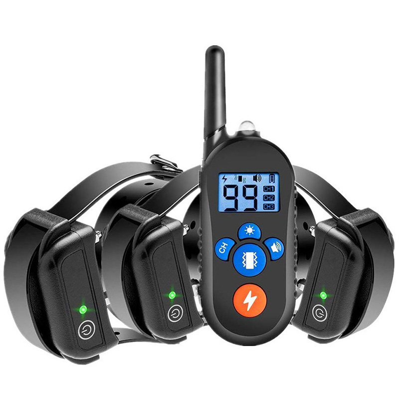 Waterproof and rechargeable dog training collar for 3 dogs
