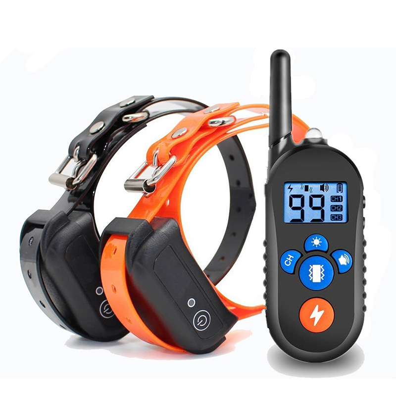 Waterproof and rechargeable dog training collar for 2 dogs