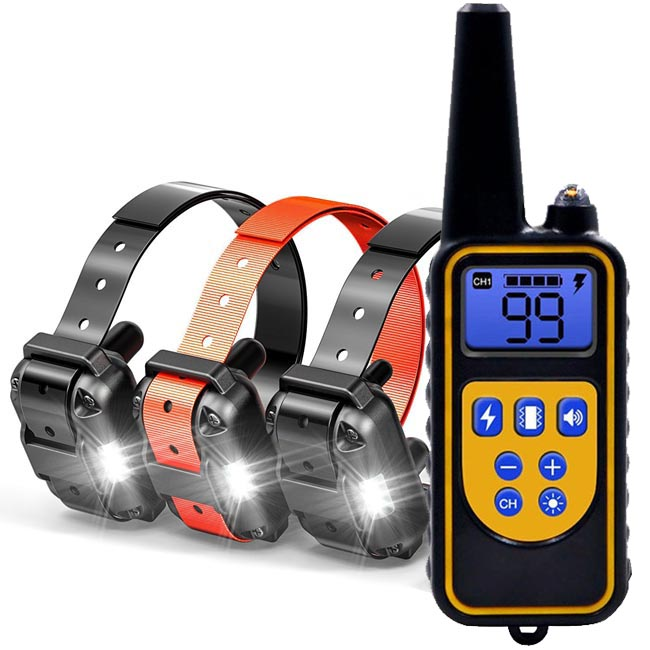 Dog Training Collar with 800 yards Wireless Remote WaterProof&Rechargeable for 3 dogs